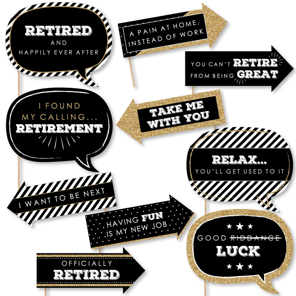 Funny Happy Retirement Retirement Party Photo Booth Props Kit 10 Piece Walmart Com