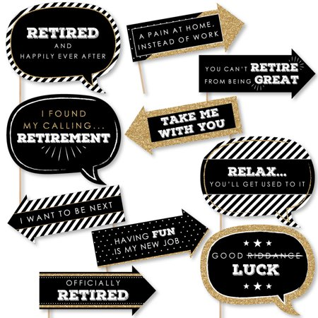 Funny Happy Retirement - Retirement Party Photo Booth Props Kit - 10 Piece