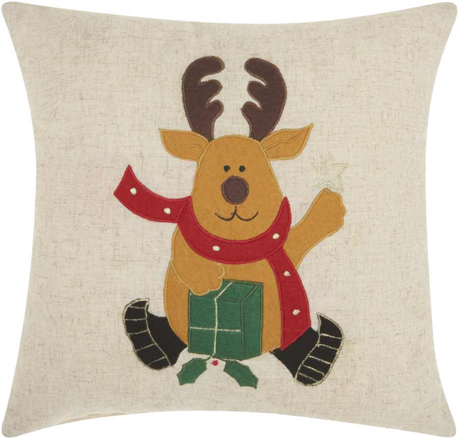 Nourison Home For The Holiday Felt Reindeer Natural Throw Pillow