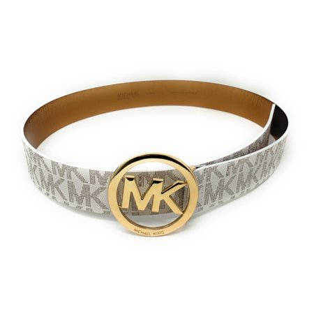 Michael Kors Signature Monogram MK Logo Round Buckle Women's Belt, Vanilla, (Michael Kors Brown Belt)
