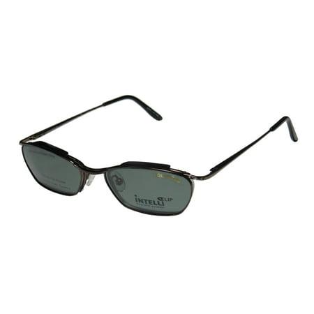 New Intelli Clip 719 Womens/Ladies Designer Half-Rim Gunmetal Frame Demo Lenses 49-18-135 Sunglass Lens Clip-Ons Rhinestones Spring Hinges Eyeglasses/Eye (Sunglasses Clip Ons)