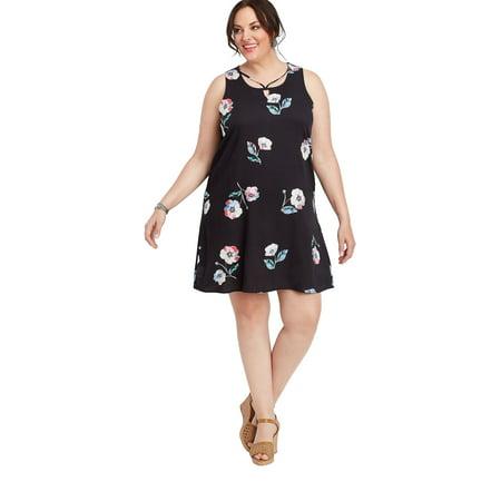 Plus Size Strappy Neck Floral Dress