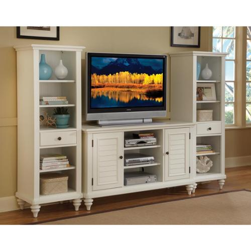 Home Styles Bermuda Brushed White 3PC Entertainment Center by