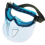 Jackson Safety* V90 SHIELD* Chmcl Splash And Cutting Goggles With Blue Translucent Flexible Frame And Clear Anti-Fog Lens