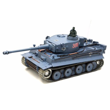 2.4Ghz Radio Remote Control 1/16 German Tiger I Airsoft Battle Tank w/Sound & Smoke (Upgrade Version w/ Metal Gear & Tracks) RC (24 Rc Battle Tank)