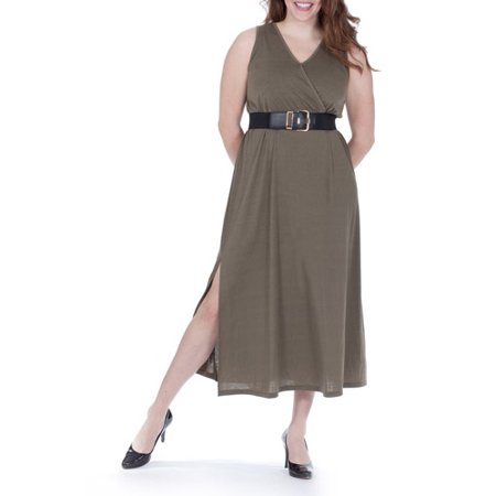 f63e406ecc3 Moda - Moda Women s Urban Camo Collection Belted Surplice Maxi Dress ...