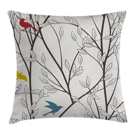 Nature Throw Pillow Cushion Cover, Birds Wildlife Cartoon Like Image with Tree Leaf Art Print, Decorative Square Accent Pillow Case, 16 X 16 Inches, Grey Maroon Blue and Mustard Yellow, by Ambesonne