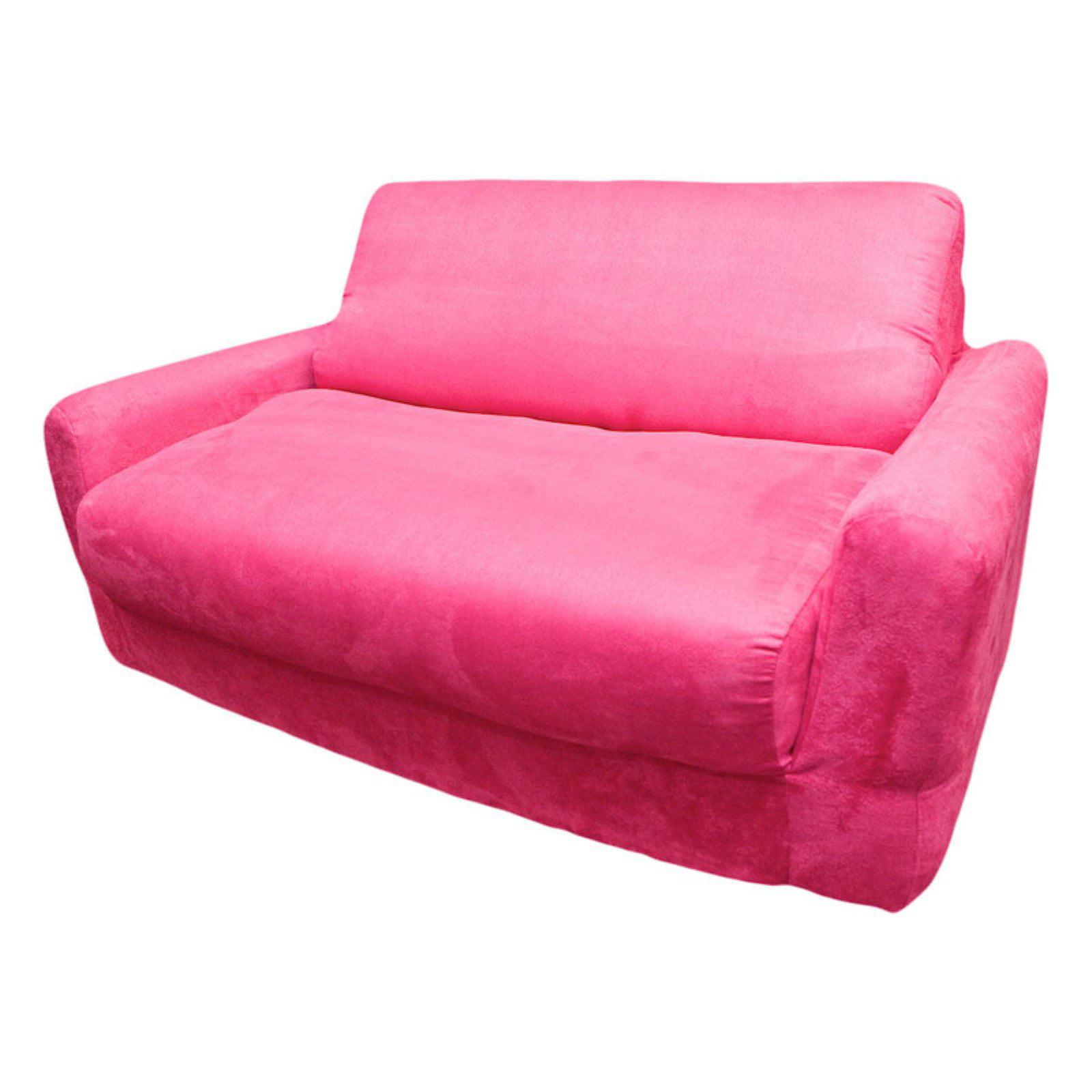 Fun Furnishings Fuchsia Sofa Sleeper with Pillows by Fun Furnishings