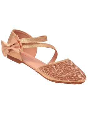 abc7c7627d0922 Product Image Bella Marie Girls Rose Gold Glitter Diagonal Ankle Strap Flats