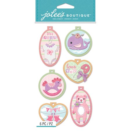 Jolee's Boutique Dimensional Stickers-Baby Girl Embroidery Hoops, Pk 3, Jolees