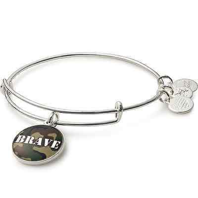 Alex And Ani Brave Charm Bangle Shiny Silver Finish Bracelet AS16AF02SS ()