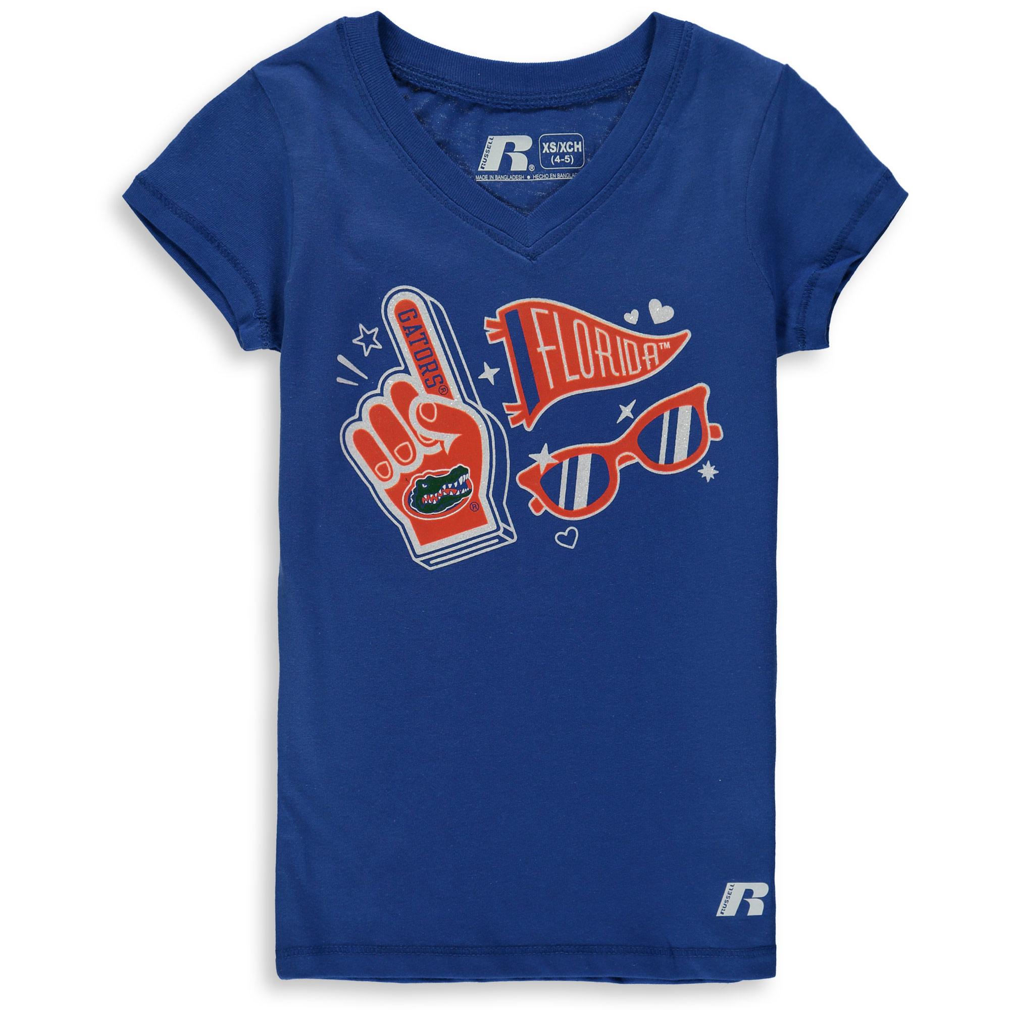 Girls Youth Russell Royal Florida Gators Tunic V-Neck T-Shirt