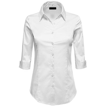 MBJ WT1947 Womens 3/4 Sleeve Tailored Button Down Shirts M BRIGHT_WHITE