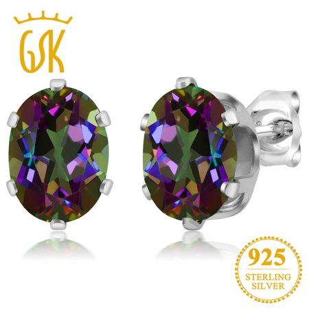 925 Sterling Silver Mystic Topaz Gemstone Birthstone Earrings 2.90 Ct Oval (Mystic Topaz Stone)