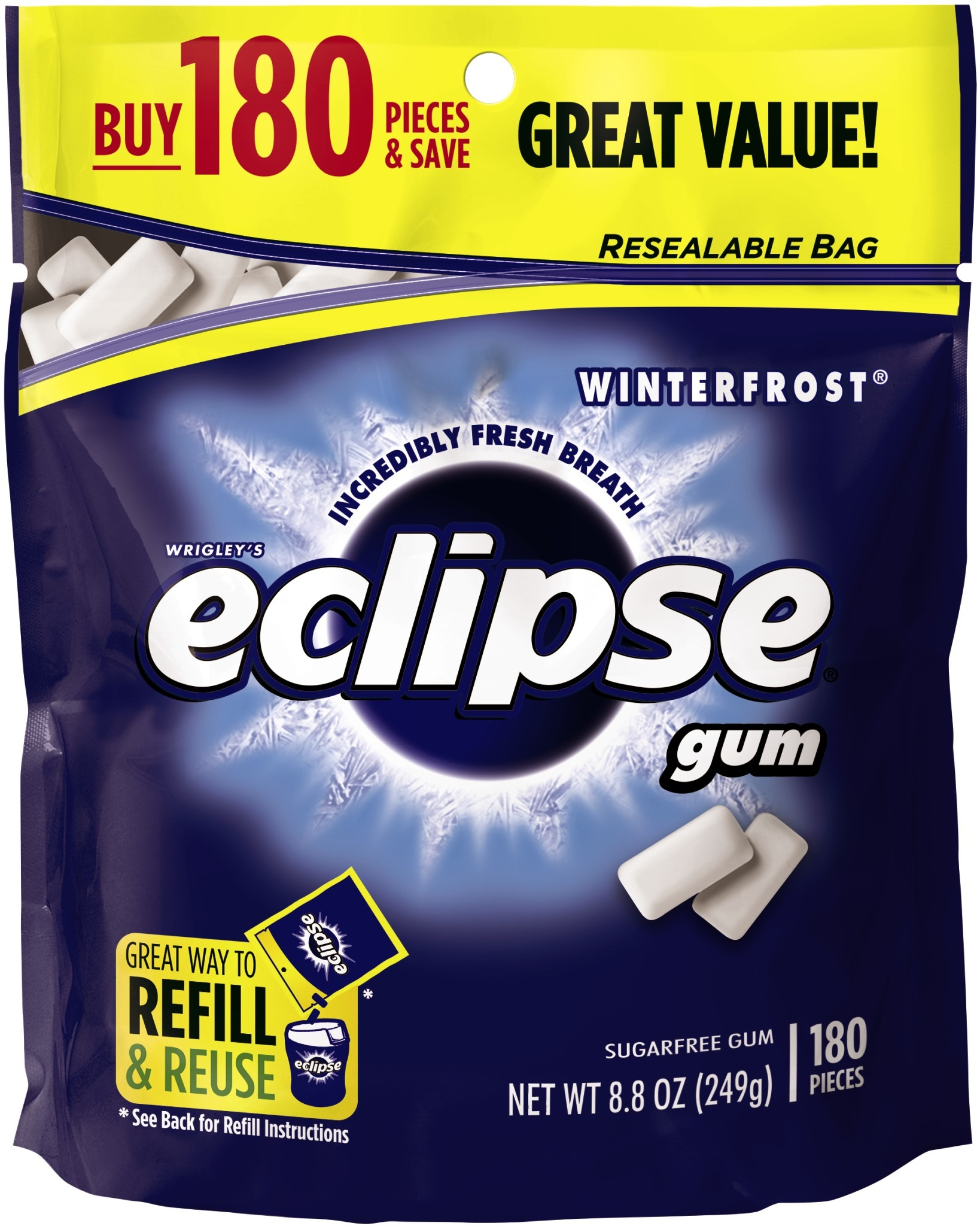 Eclipse Winterfrost Sugarfree Gum Refill, 180 pieces, 8.8 oz by Generic