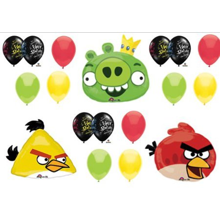 Angry Birds Pig and Red & Yellow Bird Birthday Party Balloons Decorations Supplies - Angry Bird Party Supplies