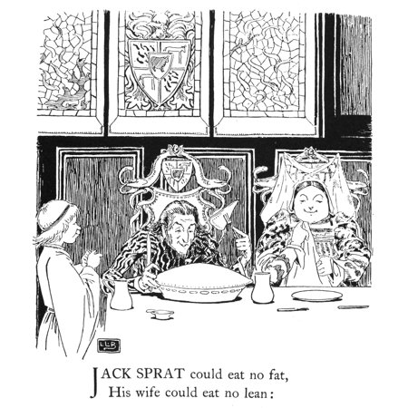 Jack Sprat 1898 NJack Sprat Could Eat No Fat His Wife Could Eat No Lean Drawing By Leslie Brooke For An 1898 Edition Of Mother Goose Nursery Rhymes Rolled Canvas Art -  (24 x 36)