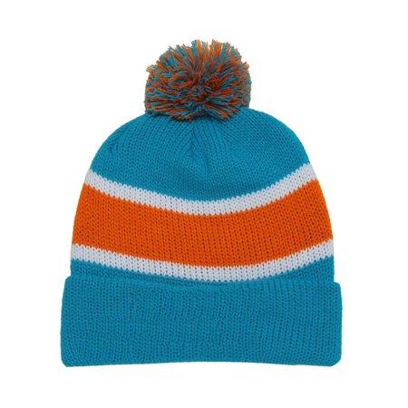 deb34e8a2e0 Winter Striped Beanie w  Pom - Blue and Orange - image 1 of 1 ...