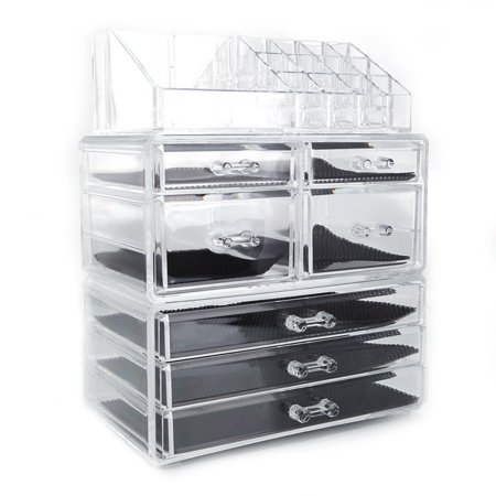 SF-1122-3 Plastic Cosmetics Storage Rack 4 Small Drawers and 3 Larger Drawers Transparent ()