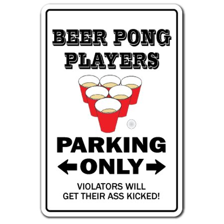 Beer Pong Players Warning Aluminum Sign | Indoor/Outdoor | Funny Home Décor for Garages, Living Rooms, Bedroom, Offices | SignMission Drunk Player College Drinking Game Gift Student Sign