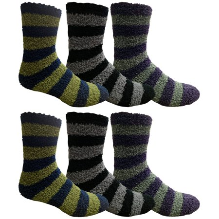 - 6 Pair Of excell Mens Striped Winter Warm Fuzzy Socks, Sock Size 10-13