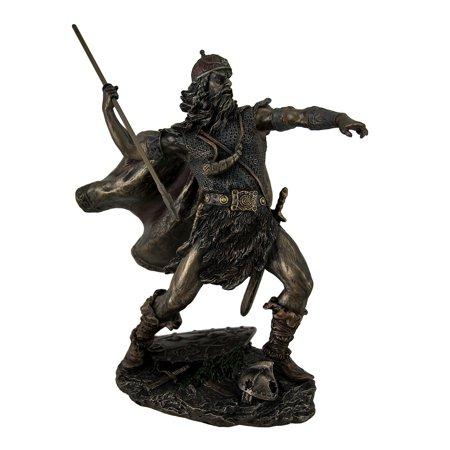 Viking Warrior in Armor Throwing Spear Decorative Bronze Finish Statue 8 - Bronze Decorative Corner