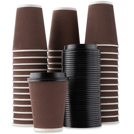 Impresserve Rippled Hot Cups with Lids   Insulated Double Walled, No Sleeve Needed Disposable Paper Cup for Coffee or Tea   Perfect for To-Go Travel Mug, Parties and More   Size 12 Ounce   40 Count Chin Cup Sleeve