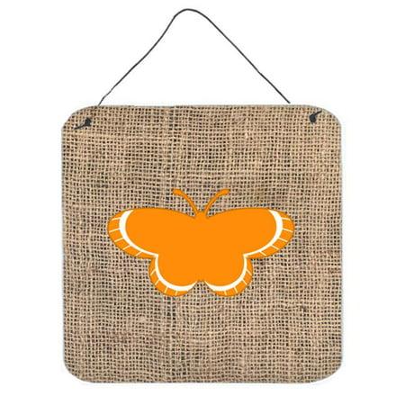 Butterfly Burlap And Orange Aluminium Metal Wall Or Door Hanging Prints - 6 x 6 In. - image 1 of 1