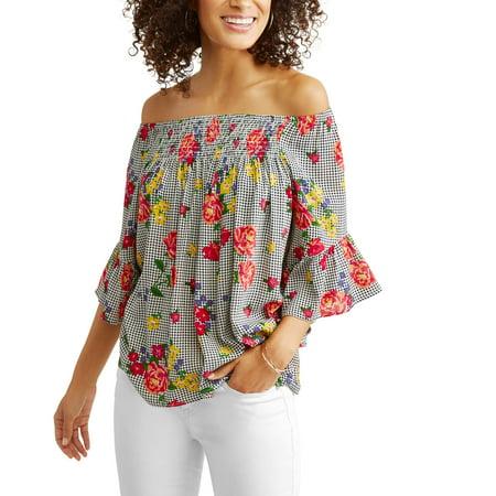 Women's Gingham Floral Off the Shoulder Top for $<!---->