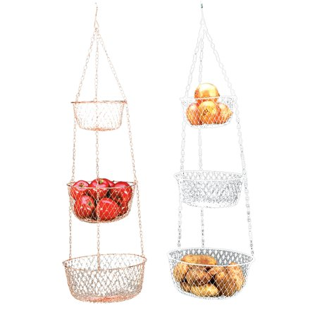 Orchard Fruit Basket - Fox Run Hanging 3 Tier Fruit and Vegetable Basket - Color May Vary