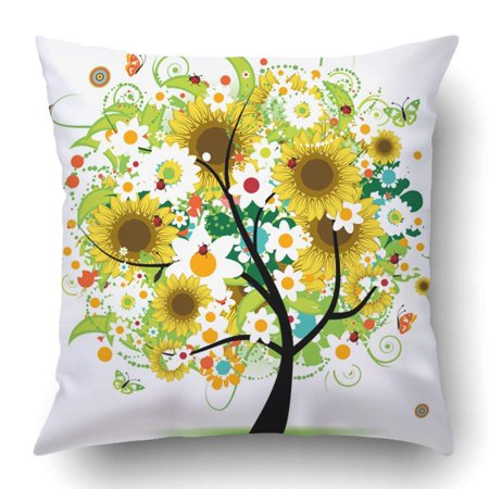 WOPOP Black Sunflower Floral Tree Beautiful Green Abstract Beauty Bloom Bouquet Branch Bush Butterfly Pillowcase 18x18 inch