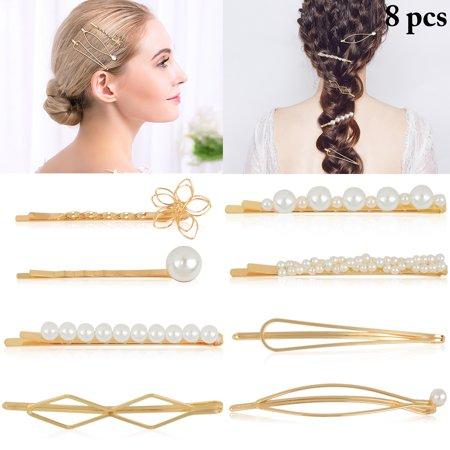 be04b1017 8PCS Hair Clips, Aniwon Faux Pearl Decor Assorted Alligator Clip Hair  Barrette Bobby Pin Bows