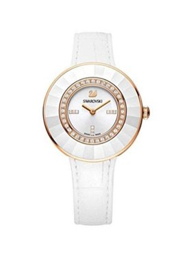 Swarovski Women's NEW (5182265) OCTEA DRESSY ROSE GOLD PAVE WHITE LEATHER CRYSTAL WATCH