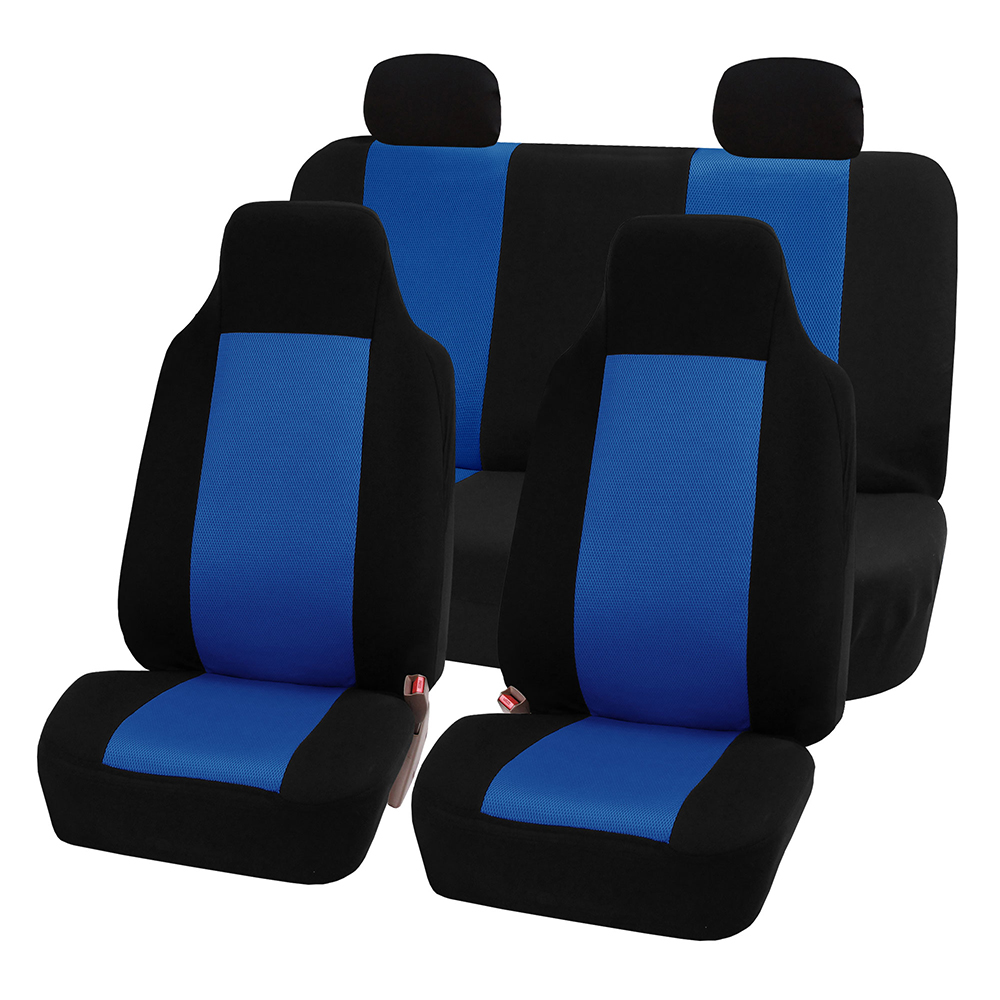 FH Group 3D Air-mesh Full Set Car Seat Covers, Blue and Black