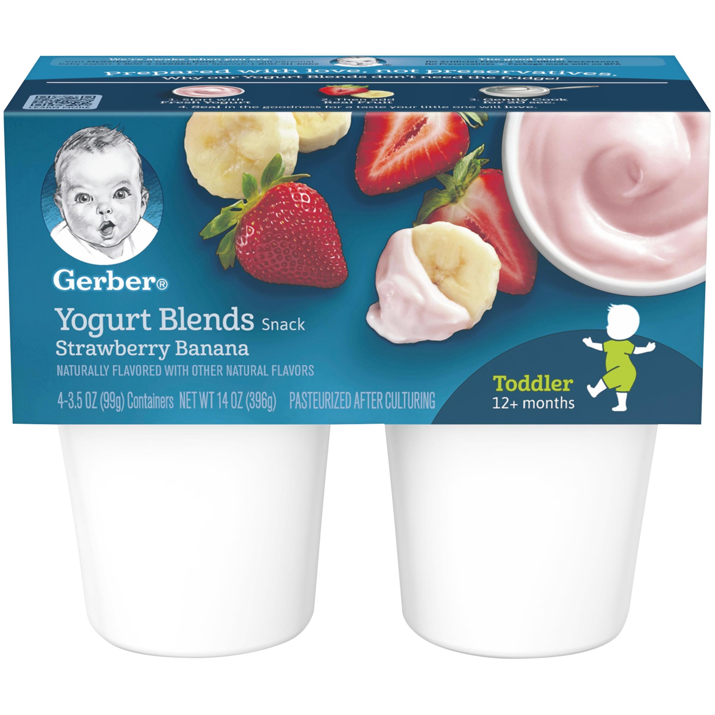 Gerber Yogurt Blends Snack Strawberry Banana Yogurt 4-3.5 oz. Cups