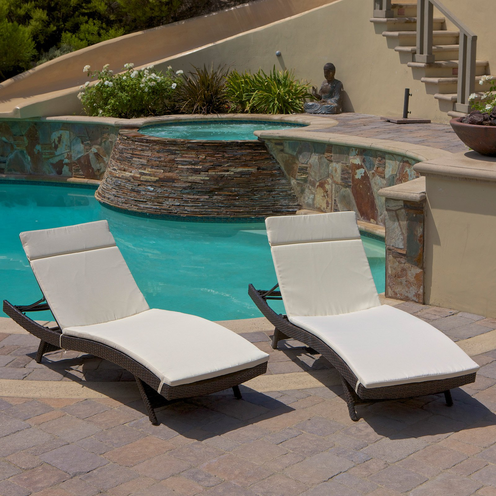 Outdoor Brown Wicker Adjustable Chaise Lounge Set of 2 by Chaise Lounges