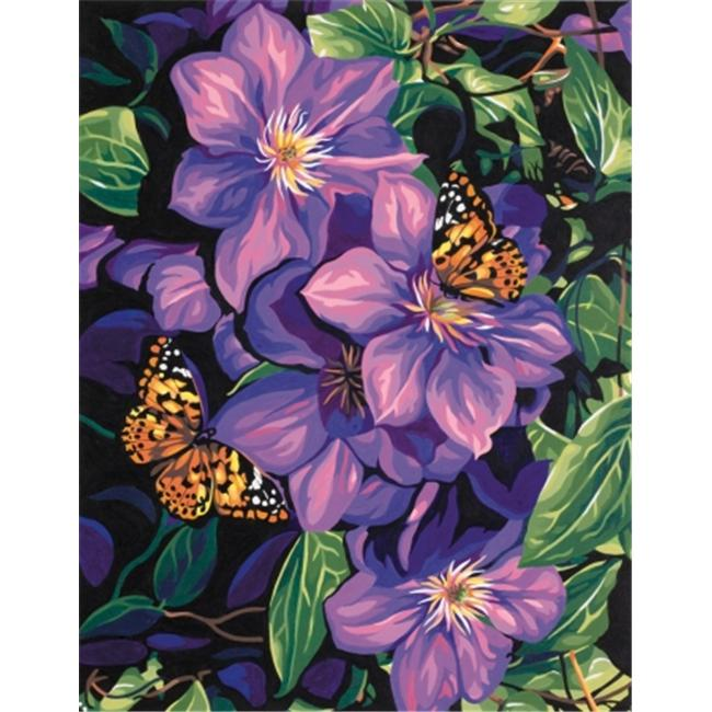 Dimensions 398975 Paint By Number Kit 11 inch x 14 inch -Clematis & Butterflies