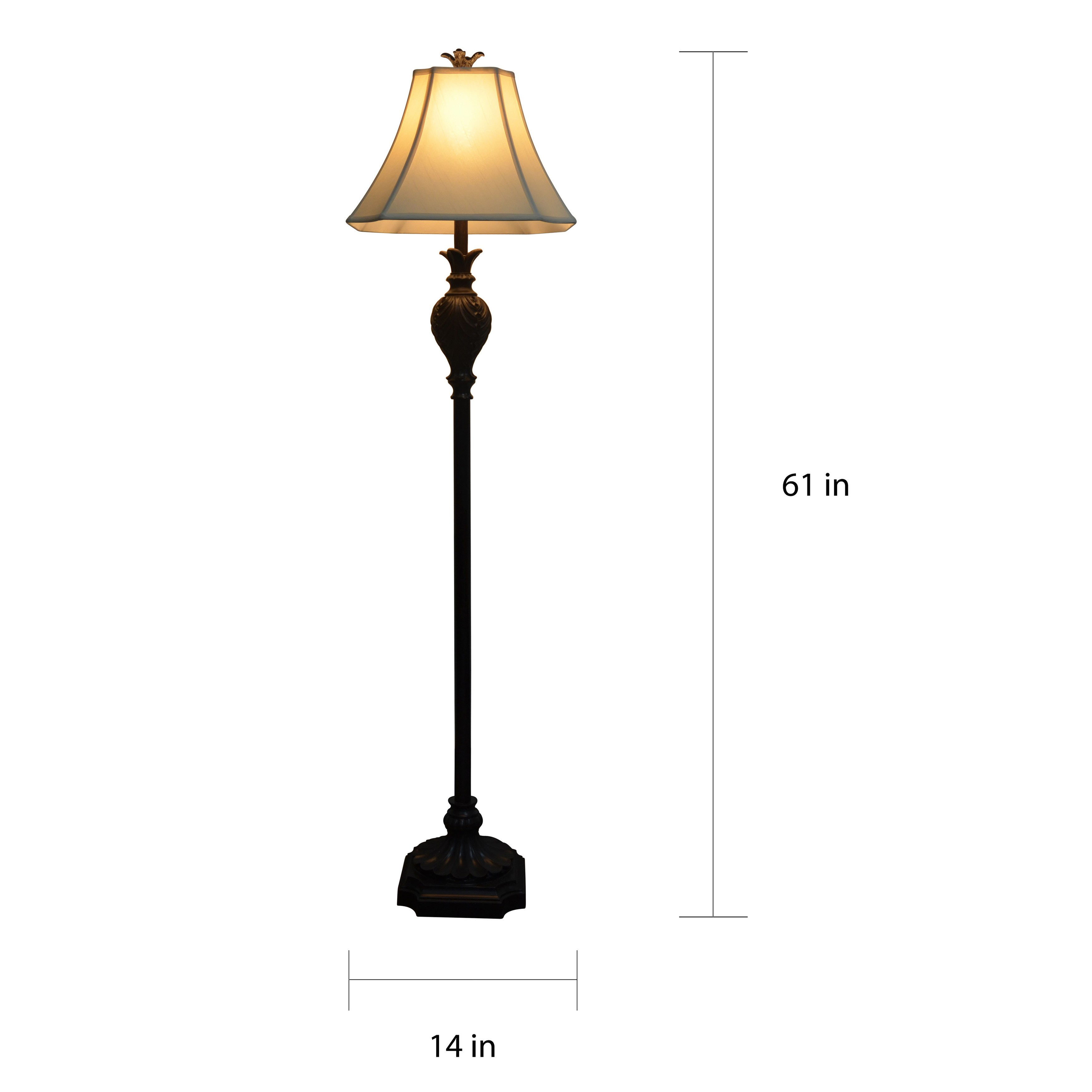 """11"""" Roland Floor Lamp with a Very Dark Brown Borden Finish"""