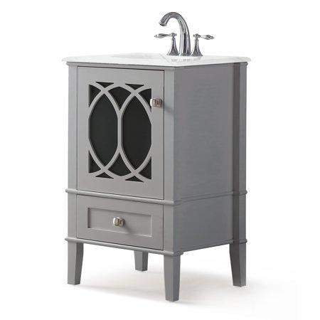 Brooklyn + Max Denning 20 inch Contemporary Bath Vanity in Warm Grey with White Engineered Marble Top Dresden Bath Vanity