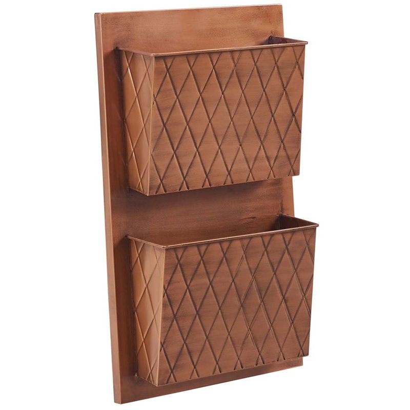 Linon Two Slot Wall Mailbox, Copper, Cross Hatch, Assembled