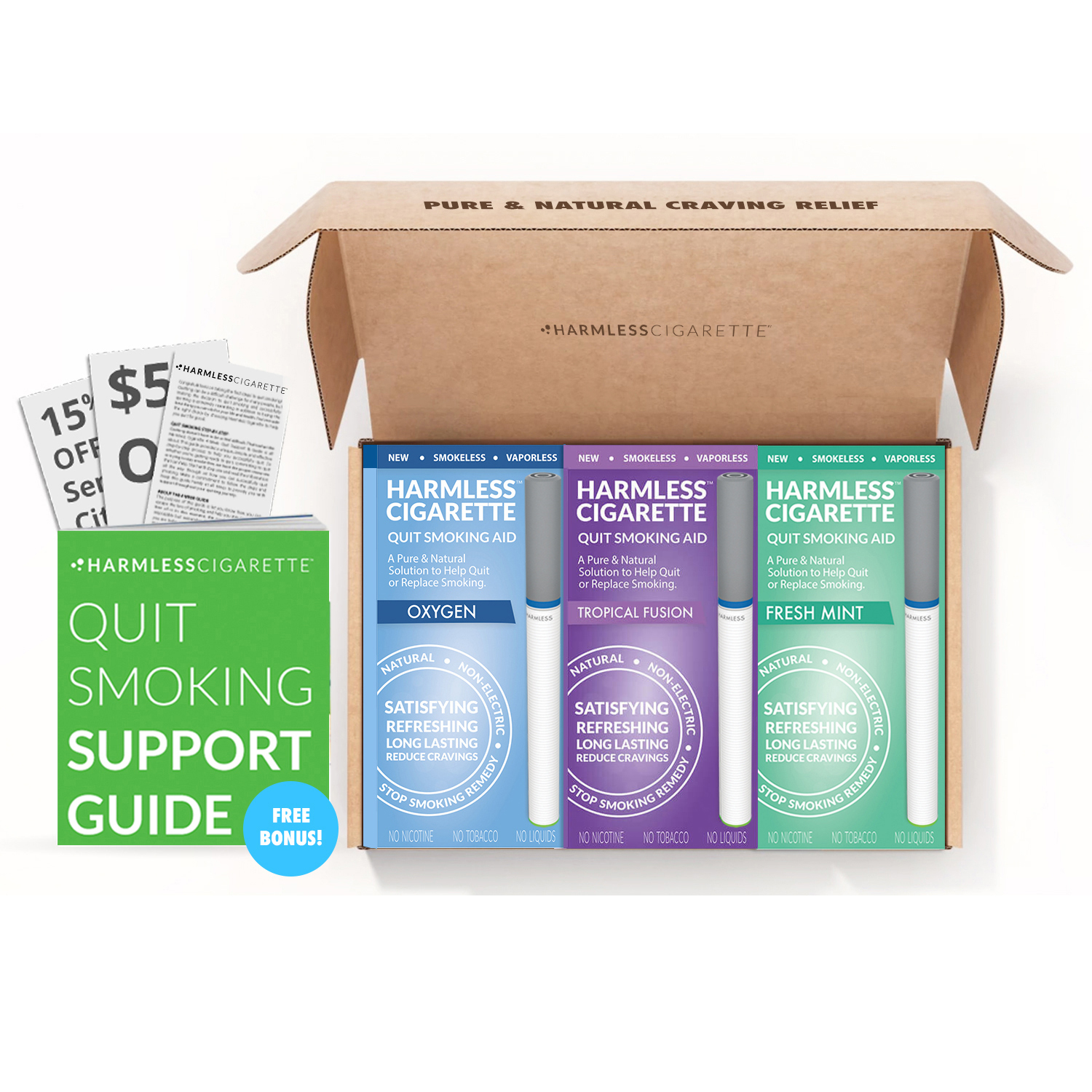 Natural Quit Smoking Aid Habit Replacement / Craving Relief Product to Help Stop Smoking / FREE Support Guide Included / Five Star - Harmless Cigarette Reviews
