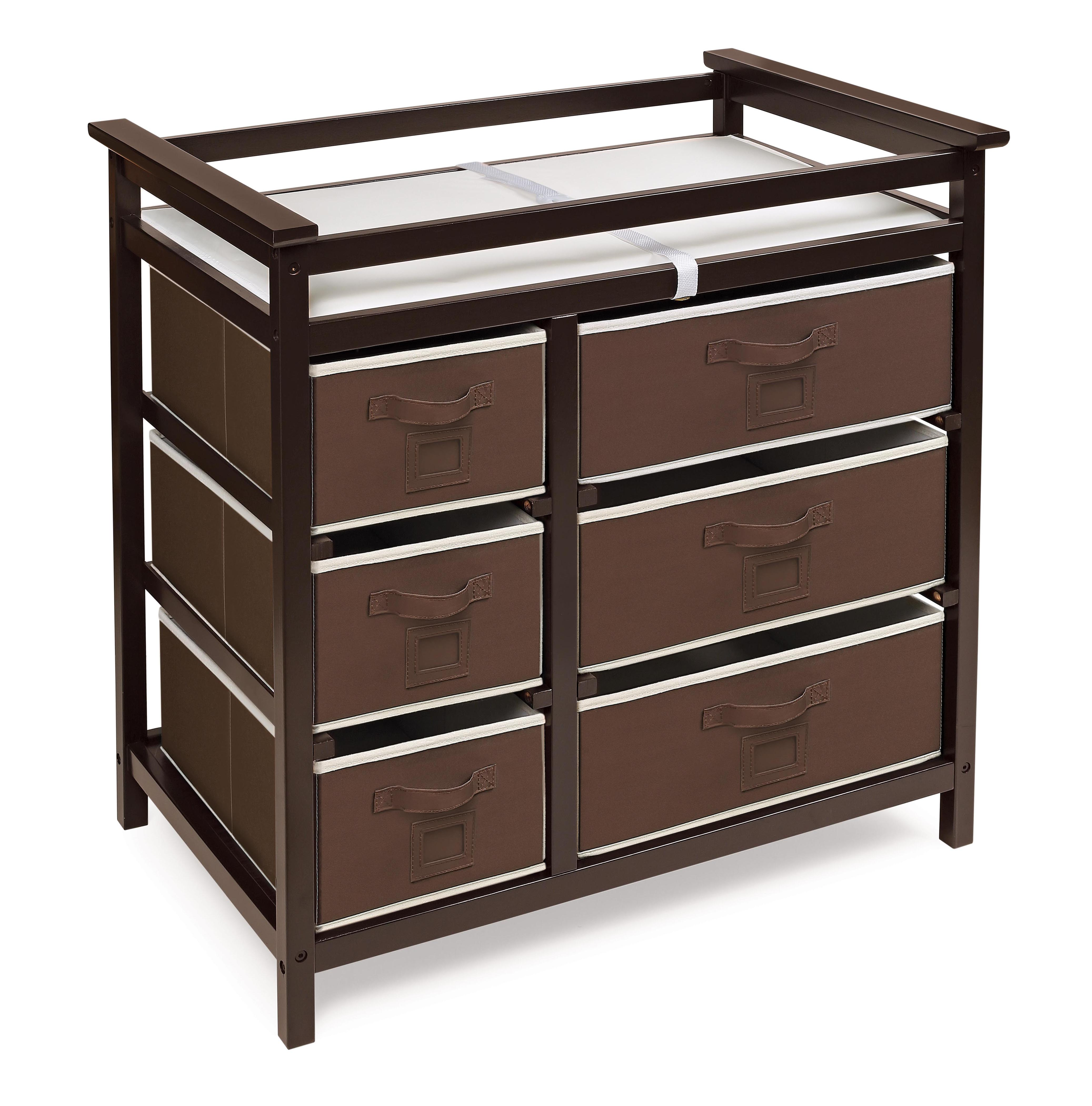 Badger Basket Modern Baby Changing Table With Six Baskets   Espresso