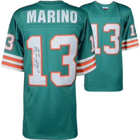 """Dan Marino Miami Dolphins Autographed Mitchell & Ness Teal Replica Jersey with """"HOF 05"""" Inscription - Fanatics Authentic Certified"""