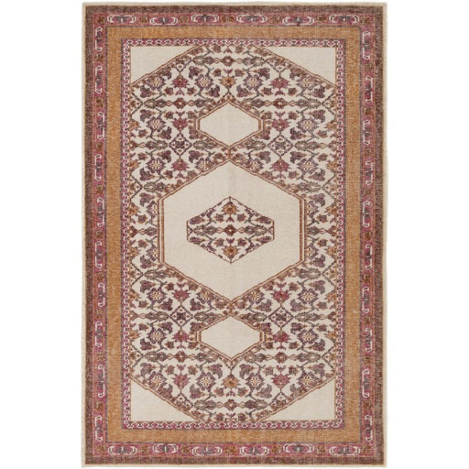 8' x 11' Crop Art Caramel Brown and Rose Pink Hand Knotted Wool Area Rug