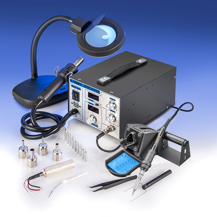 X-Tronic Model #4040-XTS Digital Hot Air Rework Soldering Station with Side Mounted Solder Roll Holder, 10 Assorted Solder Tips, 4 Hot Air Nozzles, 2 Extra Heating Elements, 5X Mag Lamp & More...