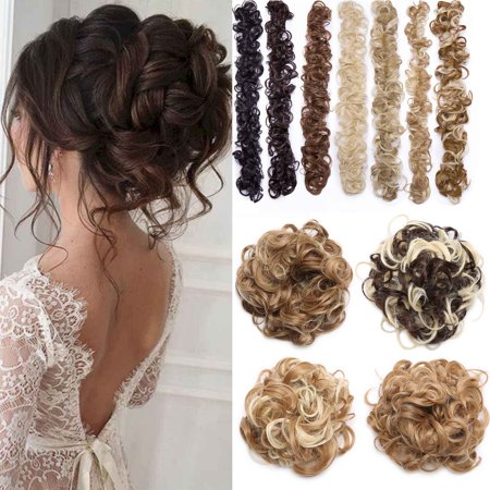S-noilite Scrunchie Messy Hair Bun Maker Long Wrap Around Hair Band DIY Updo Chignon Bendable Ponytails Hair Extensions Curly Wavy Hairpieces Dark (Diy Hair Updos For Medium Length Hair)