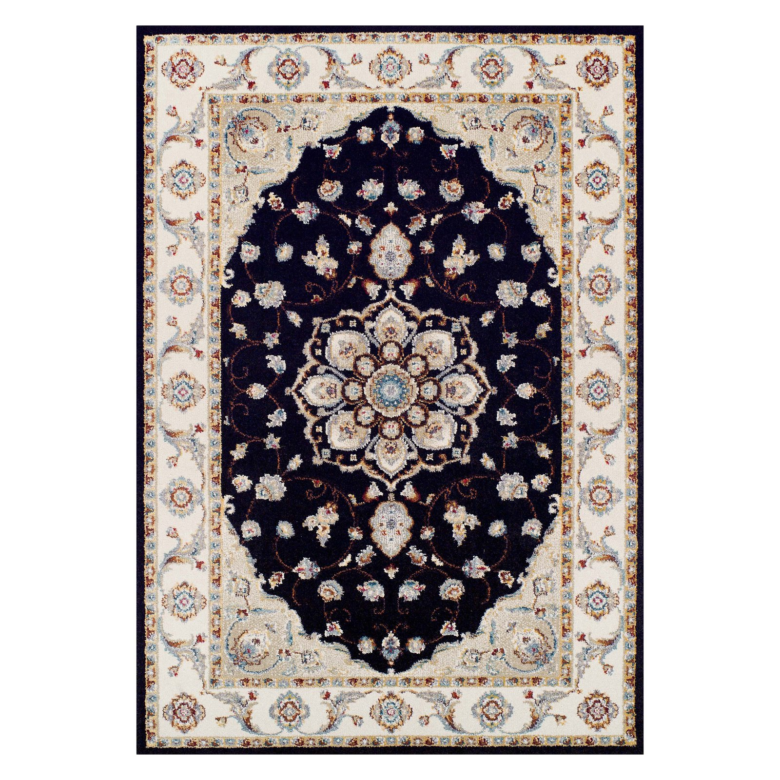 Couristan Vintage Floral Malayer/Ebony-Sand Rug, Multiple Sizes