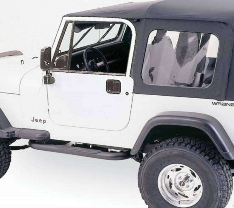 Rampage 1987 1995 Jeep Wrangler YJ Soft Top Fits Full Steel Doors Black  Diamond W