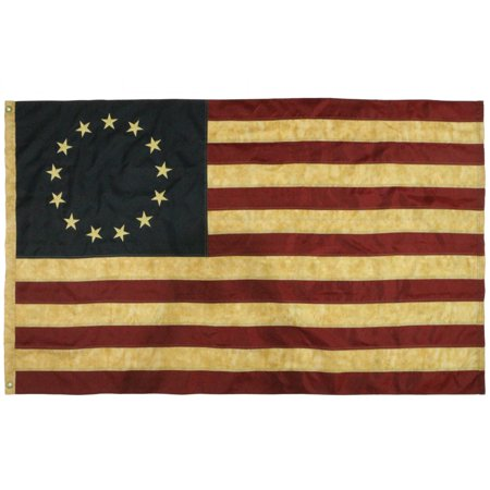 ANLEY [Vintage Style] Tea Stained Betsy Ross Flag 3x5 Foot Nylon - Embroidered Stars and Sewn Stripes - 4 Rows of Lock Stitching - Antiqued Early USA Banner Flags with (Nylon Embroidered Usa Flag)