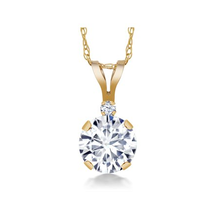 14K Yellow Gold Pendant Forever One Colorless DEF Created Moissanite 0.80ct DEW